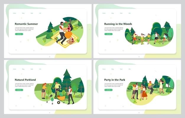 Set di attività del parco. banner web pubblicitario impostato per il parco cittadino. sport e ricreazione con amici e familiari.