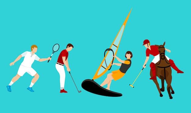 Set di attività di persone colorate