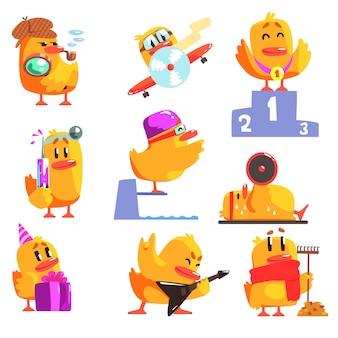 Set di attività diverse di anatroccolo di adesivi personaggi cool