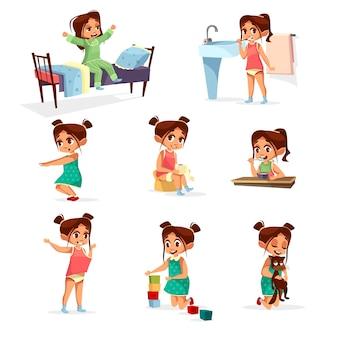 Set di attività giornaliere della ragazza del fumetto. il personaggio femminile sveglia, allunga, lavarsi i denti