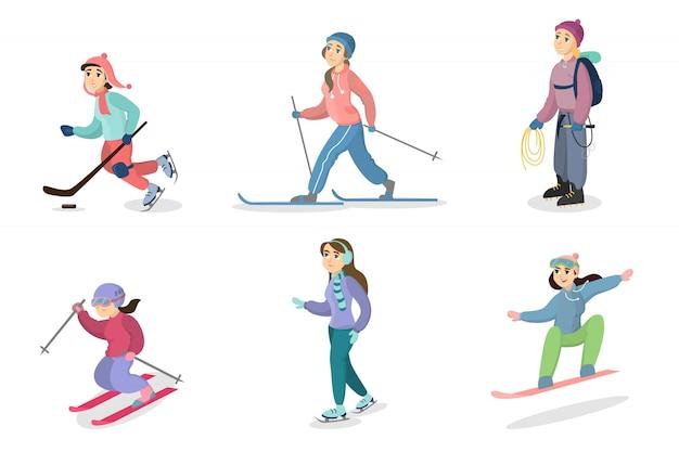 Set di attività invernali. persone sci e snowboard, pattinaggio su ghiaccio ed escursioni.