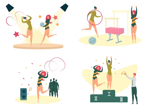 Set di attività sportive, fitness e allenamento femminile.