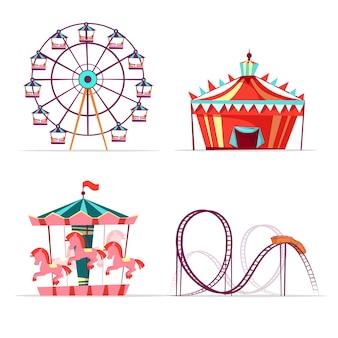 Set di attrazioni del parco divertimenti dei cartoni animati. ruota panoramica, giro allegro giostra dei cavalli