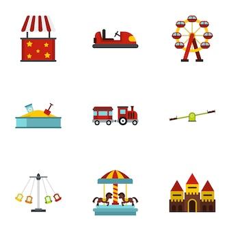 Set di attrazioni del parco divertimenti, stile piatto