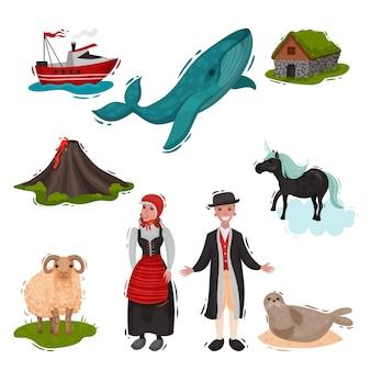 Set di attrazioni illustrate paesi scandinavi. su sfondo bianco
