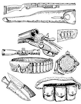 Set di attrezzatura da caccia disegnata a mano di inchiostro