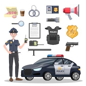 Set di attrezzatura per ufficiale di polizia.