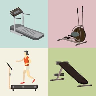 Set di attrezzature per palestra e fitness club. apparato di addestramento, illustrazione isolata. personaggio dei cartoni animati femminile durante l'allenamento di perdita di peso e potenza
