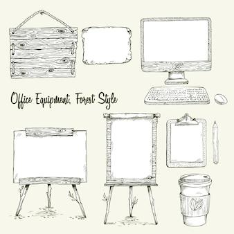 Set di attrezzature per ufficio disegnati a mano in stile eco. illustrazione di schizzo vettoriale