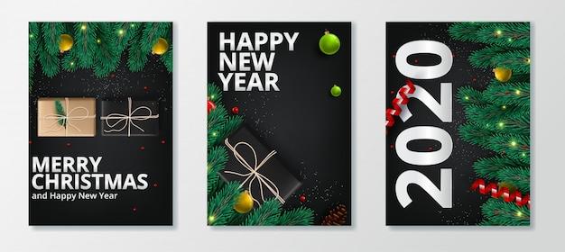 Set di auguri di buon anno 2020 e buon natale