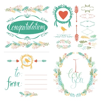 Set di auguri e elementi di design impostati