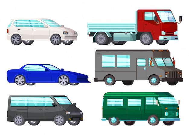 Set di auto aziendali ortogonali