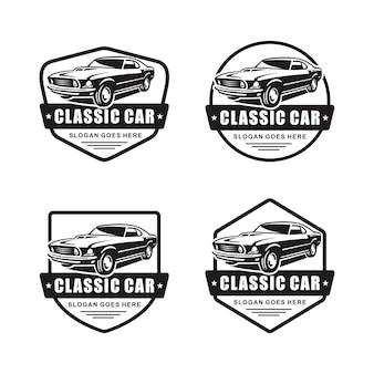 Set di auto d'epoca emblema logo