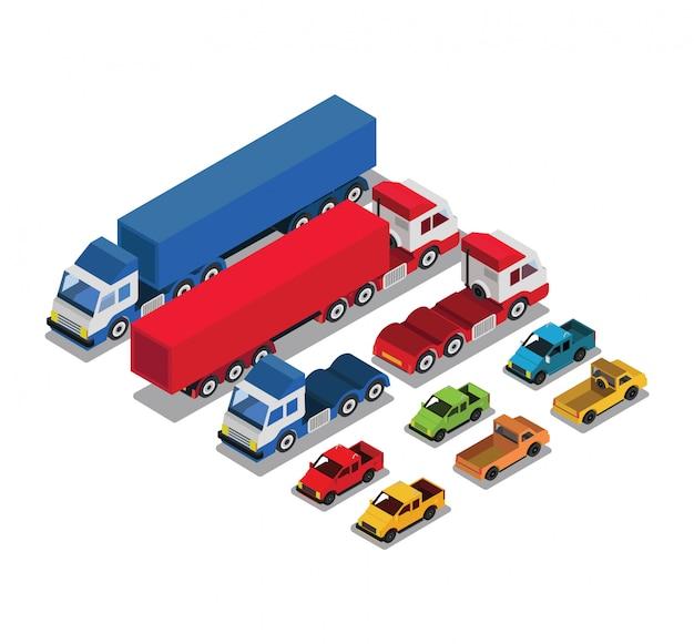 Set di auto urbane e di trasporto merci