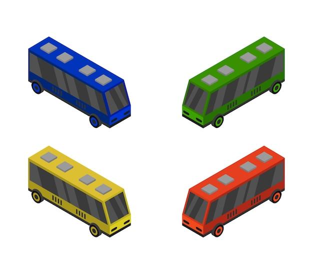 Set di autobus isometrico