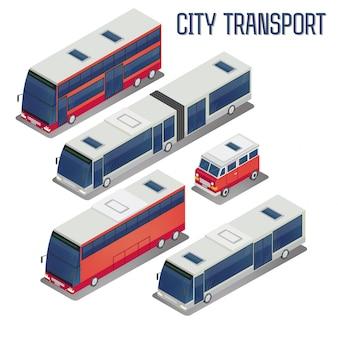 Set di autobus per il trasporto della città isometrica