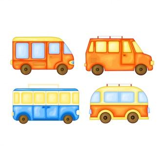 Set di autobus per viaggiare in stile cartone animato carino. illustrazione vettoriale isolato