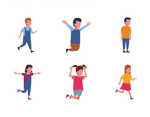 Set di avatar bambini divertendosi icona