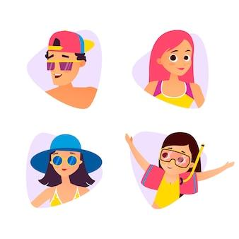 Set di avatar cartoon estate. stile cartone animato