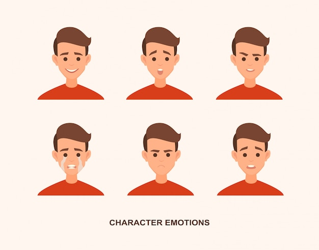 Set di avatar con emozioni caratteriali tra cui sorpresa, felicità, rabbia, sogghigno, sorriso