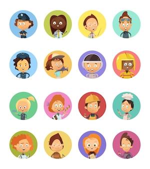Set di avatar di cartoni animati di professioni di persone utilizzate per i bambini con le immagini
