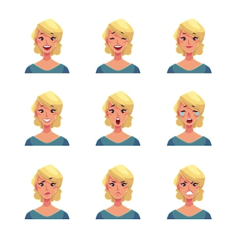 Set di avatar di espressione del viso donna bionda