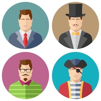Set di avatar di facce maschili