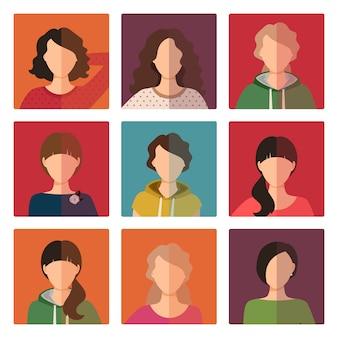 Set di avatar di giovani ragazze