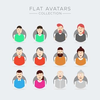 Set di avatar di icone di persone d'affari, donna uomo bambini collezione di cartoni animati di vecchiaia anziani