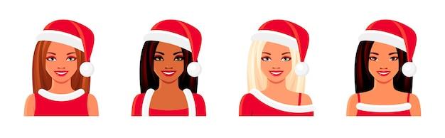 Set di avatar di natale di donne sorridenti. ragazze asiatiche, indiane ed europee che indossano cappelli di babbo natale.