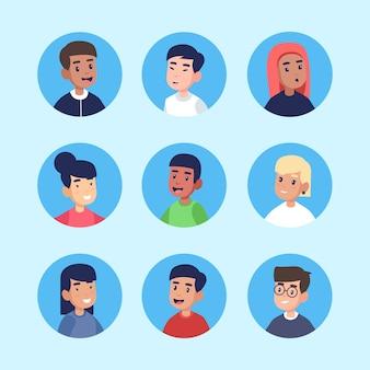 Set di avatar di persone diverse