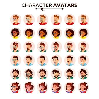 Set di avatar di persone. uomo donna.