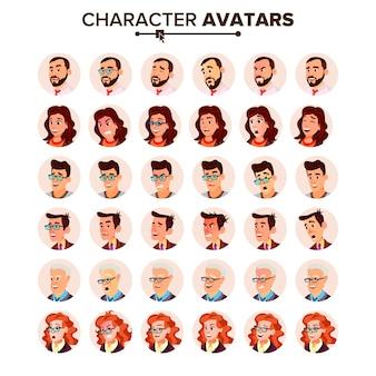 Set di avatar di persone.