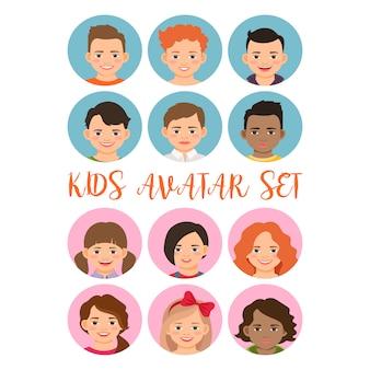 Set di avatar di ragazzi e ragazze per bambini
