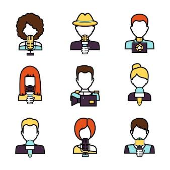 Set di avatar giornalista