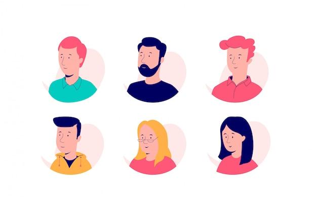 Set di avatar in un nuovo stile.