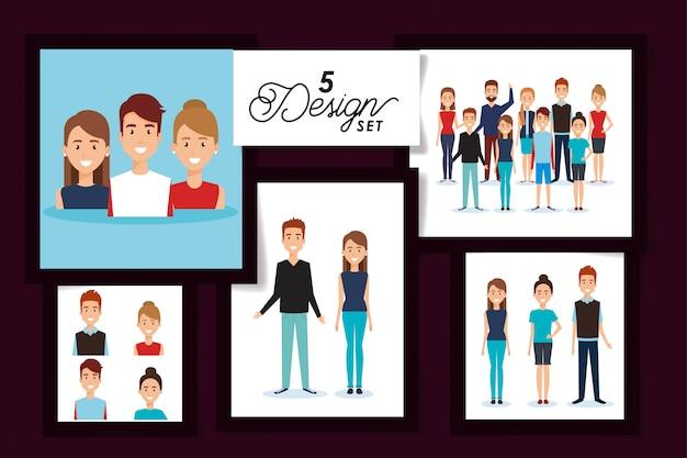 Set di avatar per donne e uomini