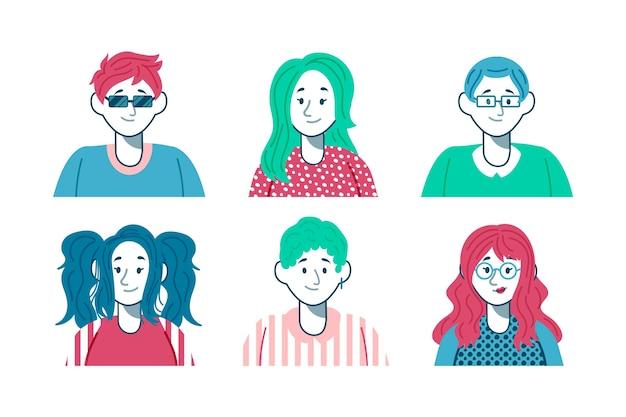 Set di avatar stile piatto di persone