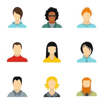 Set di avatar, stile piatto