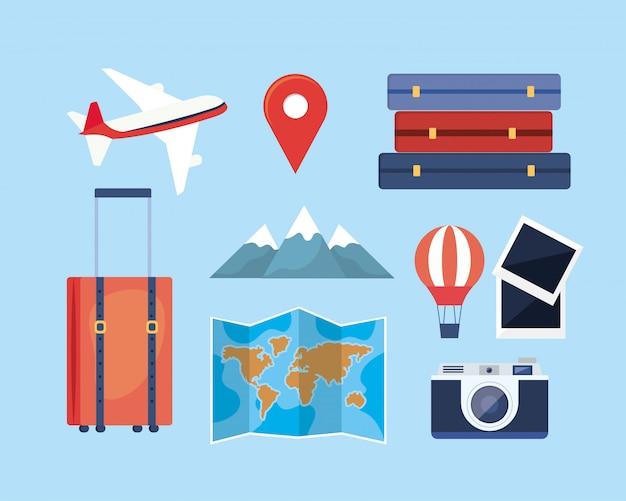 Set di avventura di viaggio con percorso di posizione e destinazione