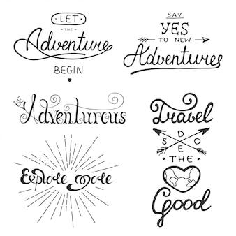 Set di avventura e viaggi lettering vettoriale