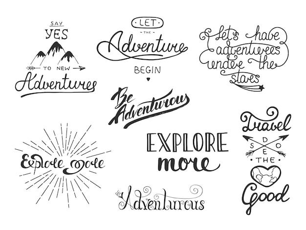 Set di avventura e viaggio vettoriale