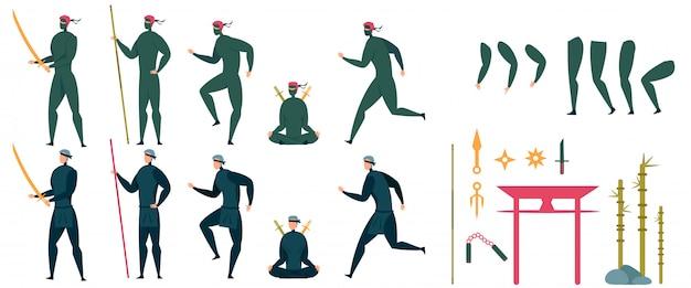 Set di azioni di personaggi ninja