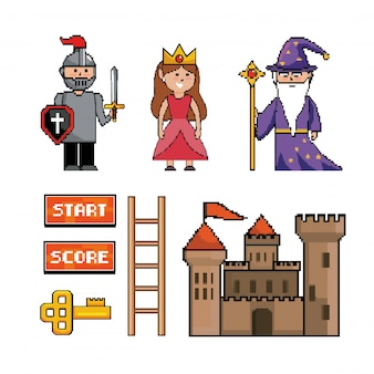 Set di bacchetta magica mago con sir boy e principessa