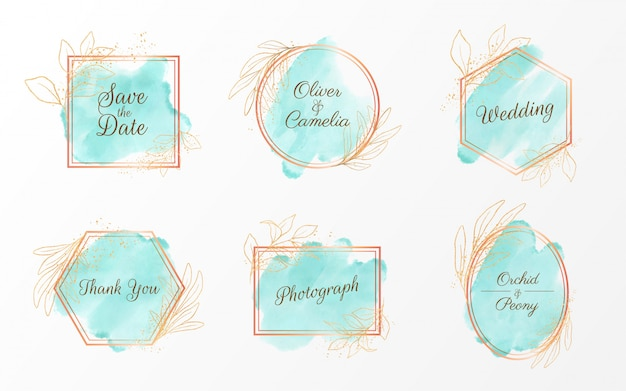 Set di badge acquerello geometrico con decorazioni glitter oro e floreali