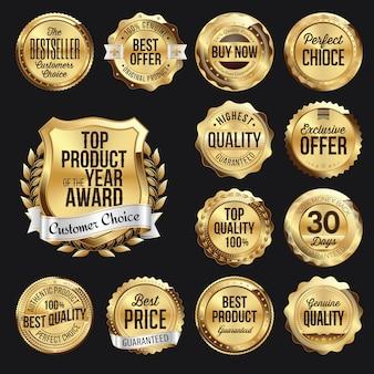 Set di badge al dettaglio in oro