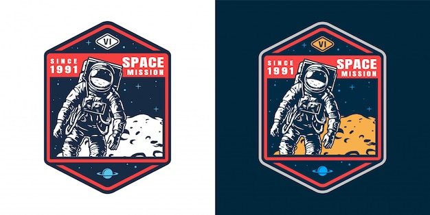 Set di badge astronauta vintage