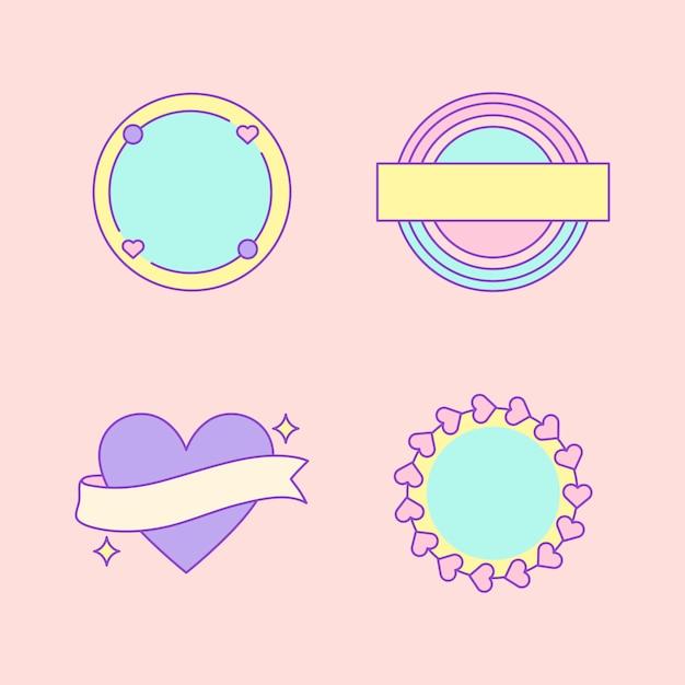 Set di badge carino e femminile