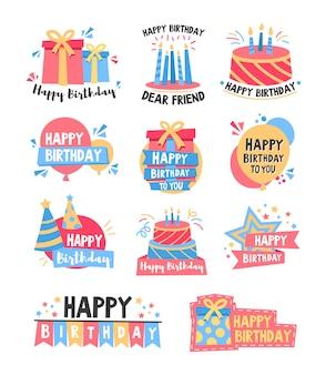 Set di badge colorati di buon compleanno