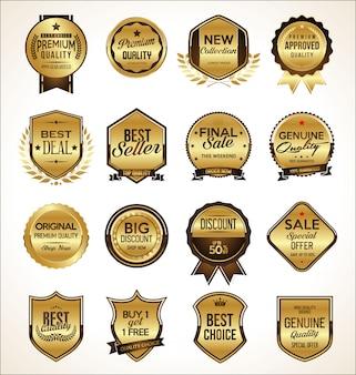 Set di badge d'oro premium di lusso